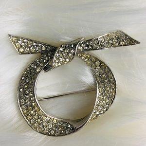 Vintage les bernard inc  brooch silver rhinestone
